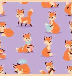 fox cute adorable character doing different vector image vector image