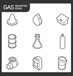 gas outline isometric icons vector image vector image