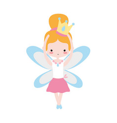Girl dancing ballet with crown and wings design vector