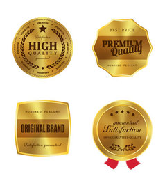 Golden metal badges vector image