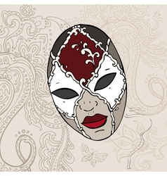 Hand drawn venetian carnival mask vector