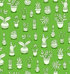 Home plants seamless pattern on green background vector image