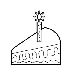Piece of cake with one candle celebrating the vector