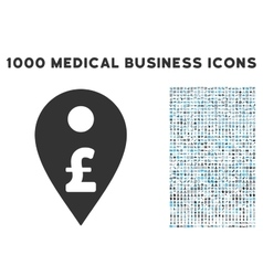Pound Map Marker Icon with 1000 Medical Business vector image vector image
