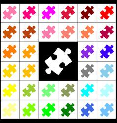 Puzzle piece sign felt-pen 33 colorful vector