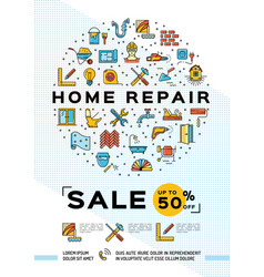 Repair house poster renovation home template vector