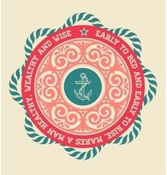 Retro label with nautical elements vector image