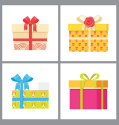 Set of gift boxes in decorative wrapping vector