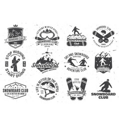 Set of snowboard club badges vector