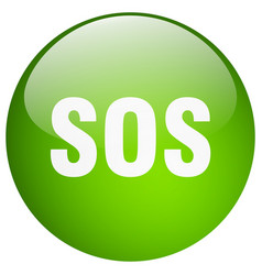 Sos green round gel isolated push button vector