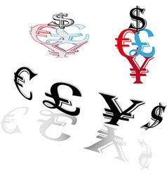 Symbols of world currencies vector