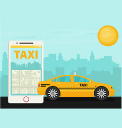 Taxi service smartphone city skyscrapers flat vector