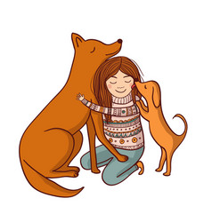 with girl and dogs vector image vector image