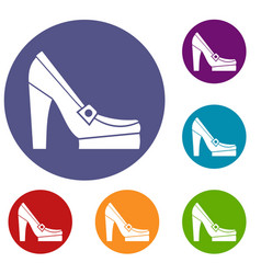 women shoes on platform icons set vector image