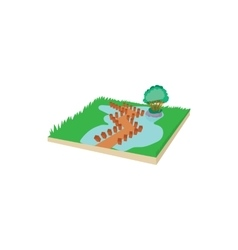 Wooden bridge on a mountain lake icon vector image