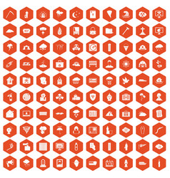 100 natural disasters icons hexagon orange vector