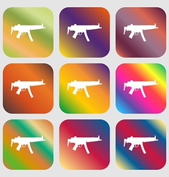 Machine gun icon nine buttons with bright vector