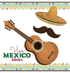 Guitar and hat with moustache viva mexico vector