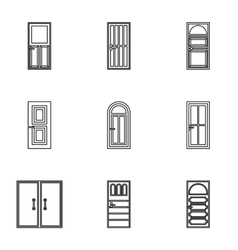 Interior doors icons set outline style vector