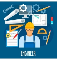 Engineer or builder worker with work tools poster vector