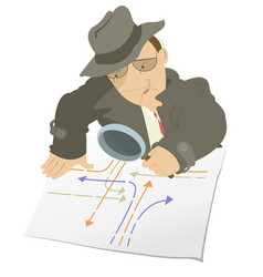 Serious detective isolated vector