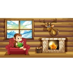 A monkey reading at the chair near the fireplace vector