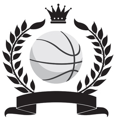 logo with a wreath and a basketball ball vector image