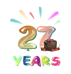 27 years anniversary celebration design with cake vector
