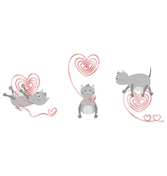 Kittens with red hearts vector