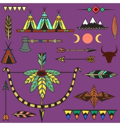 Set of ethnic american indians objects vector