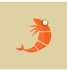 Shrimp food flat icon vector