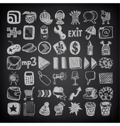 49 hand drawing doodle icon set on black vector