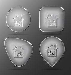 Home reading glass buttons vector