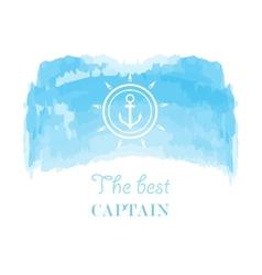 Blue white nautical emblem vector image