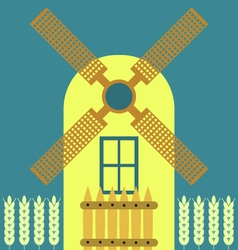 Windmill modern flat icon traditional dutch style vector