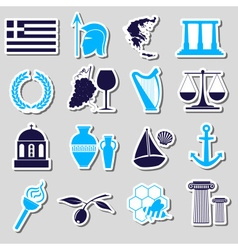 Greece country theme symbols and stickers set vector