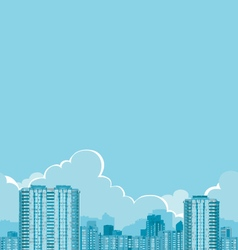Buildings and clouds vector