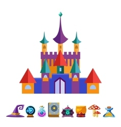 Medieval castle and elements for games vector