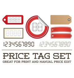 Price tag set enable for print or manual price vector