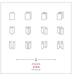 Folded line icons set vector