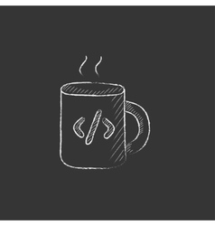 Cup of coffee with code sign drawn in chalk icon vector
