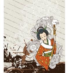 Japanese grunge background vector