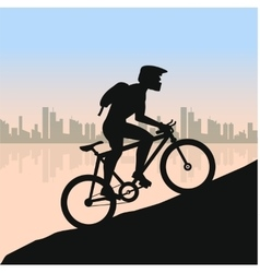 Cyclist in rough road against city landscape vector