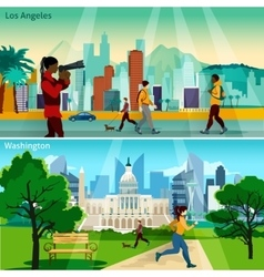 American cityscapes compositions set vector