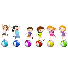 Boys and girls standing on ball vector