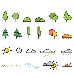 Different weather silhouette icons collection vector image