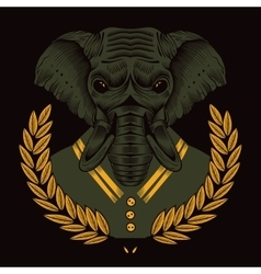 An elephant framed by laurel branches in sailor vector