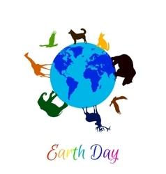 Animals around planet earth vector