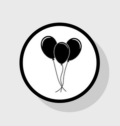 Balloons set sign flat black icon in vector