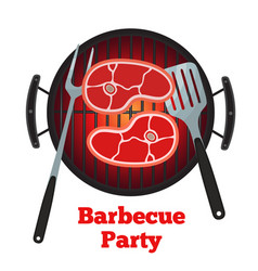 barbecue grill fried meat pork spatula and fork vector image vector image